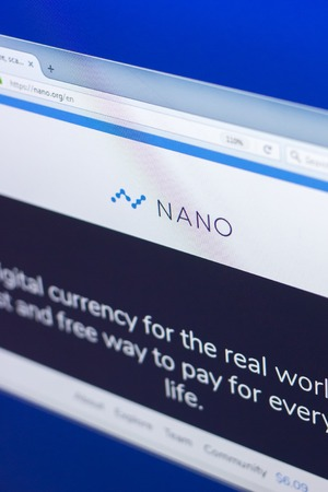 Ryazan, Russia - March 29, 2018 - Homepage of Nano cryptocurrency on display of PC, web address - nano.org