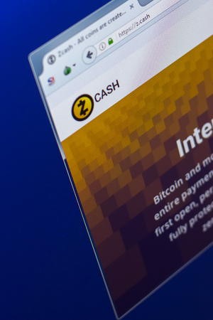 Ryazan, Russia - March 29, 2018 - Homepage of ZCash cryptocurrency on PC display, web address - z.cash