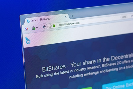 Ryazan, Russia - March 29, 2018 - Homepage of Bitshares cryptocurrency on a display of PC, web address - bitshares.org