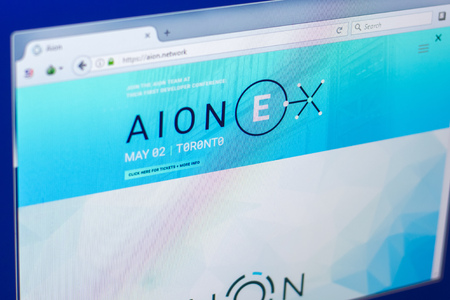 Ryazan, Russia - March 29, 2018 - Homepage of Aion crypto currency on the PC display, web address - Aion.network