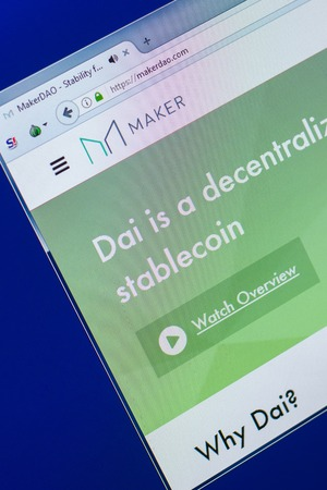 Ryazan, Russia - March 29, 2018 - Homepage of Maker crypto currency on the PC display, web address - makerdao.com