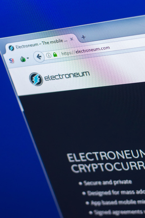 Ryazan, Russia - March 29, 2018 - Homepage of Electroneum crypto currency on the PC display, web address - electroneum.com.