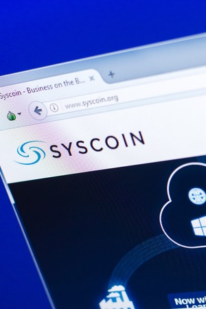 Ryazan, Russia - March 29, 2018 - Homepage of Syscoin crypto currency on the PC display, web address - syscoin.org.