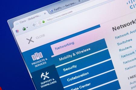 Ryazan, Russia - May 13, 2018: Cisco website on the display of PC, url - Cisco.com