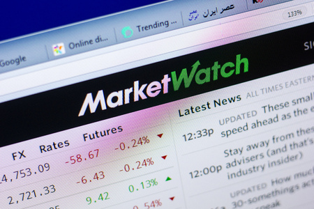 Ryazan, Russia - May 27, 2018: Homepage of MarketWatch website on the display of PC, url - MarketWatch.com