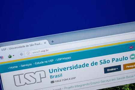 Ryazan, Russia - June 26, 2018: Homepage of USP website on the display of PC. URL - USP.br