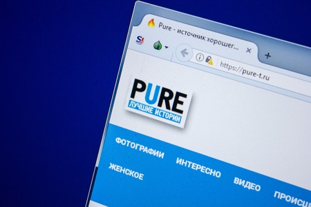 Ryazan, Russia - July 24, 2018: Homepage of Pure-t website on the display of PC. Url - Pure-t.ru