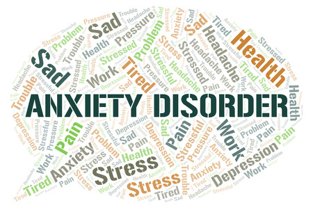 Illustration for Anxiety Disorder word cloud. Wordcloud made with text only. - Royalty Free Image