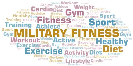 Illustration pour Military Fitness word cloud. Wordcloud made with text only. - image libre de droit