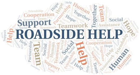 Illustration pour Roadside Help word cloud. Vector made with text only. - image libre de droit