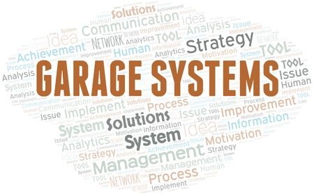 Illustration pour Garage Systems typography vector word cloud. Wordcloud collage made with the text only. - image libre de droit