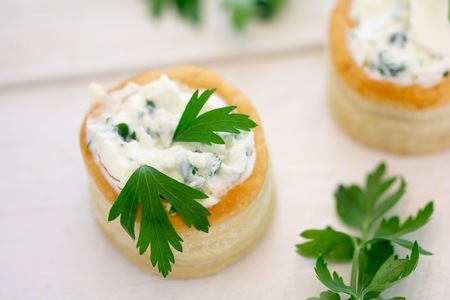 Vol au vent with cheese and parsley