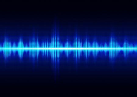 Illustration pour Glowing dark blue digital sound wave, technology abstract background vector illustration - image libre de droit