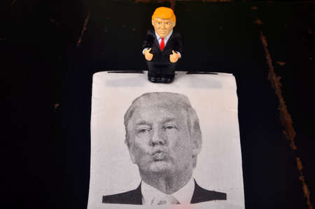 Riga, Latvia - January 07, 2021: Small Donald Trump figure with pants down standing on toilet paper with a picture of Trump