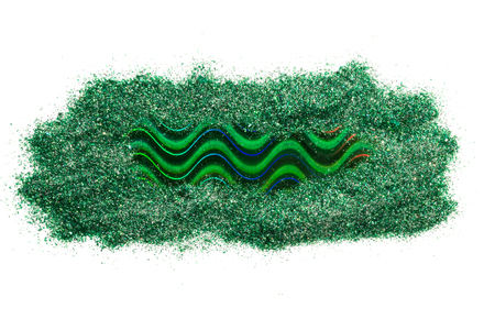 Photo pour Holographic strip of green color, isolated on white background. Frame for text. - image libre de droit