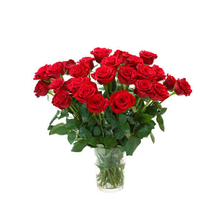 Photo pour bouquet of blossoming dark red roses in vase isolated on white background - image libre de droit
