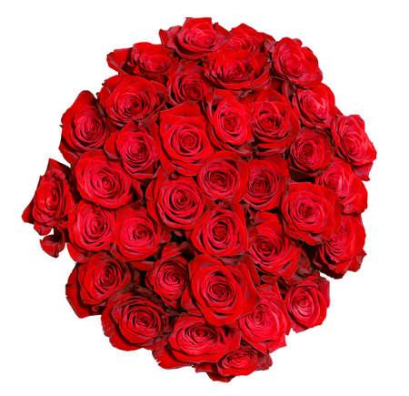 Photo pour round bouquet of red roses over white background - image libre de droit