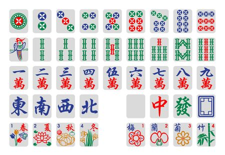 Illustration for mahjong tiles - Royalty Free Image