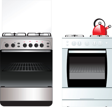 different Kitchen Stove isolated on white