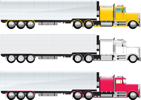 Photo for Side view of a big truck colored and b/w on a whit - Royalty Free Image