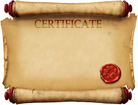 old form certificates with wax stamp