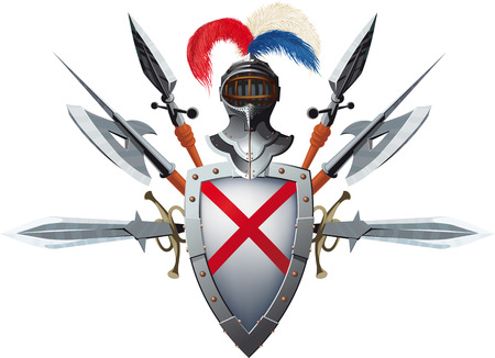 Knight's mascot with shield, helmet and bristling with weapons