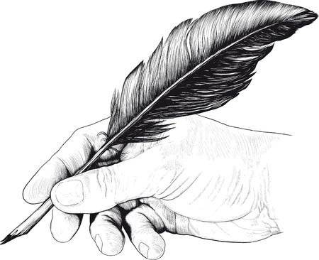 Illustration pour Vintage drawing of hand with a feather pen in style of an engraving - image libre de droit