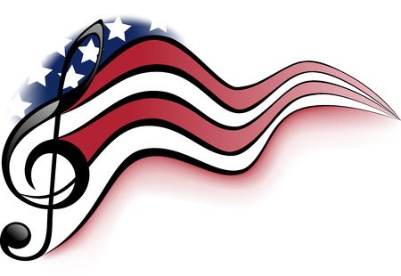 Treble clef and notes on a background winding United States of America flag