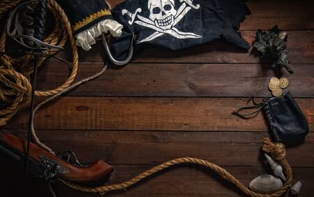 Foto de Pirate background of marine items with empty space for your text. - Imagen libre de derechos