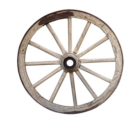Photo pour old disused wooden cart or wagon wheel isolated on white background - image libre de droit