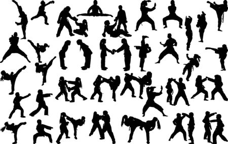 Illustration pour A large set of silhouettes of children of girls and boys practicing karate in different stances during the strike and blocks - image libre de droit