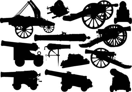 Illustration for old artillery set - Royalty Free Image