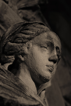 Close up of a statue at night