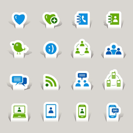 Illustration for Paper Cut - Social media icons - Royalty Free Image
