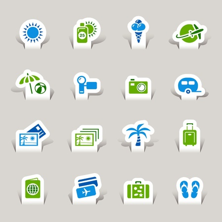 Illustration for Paper Cut - Vacation icons - Royalty Free Image