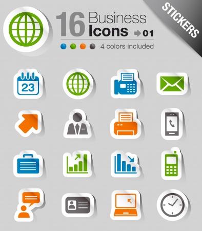 Ilustración de Glossy Stickers - Office and Business icons - Imagen libre de derechos