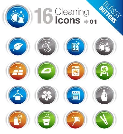Illustration pour Glossy Buttons - Cleaning Icons - image libre de droit