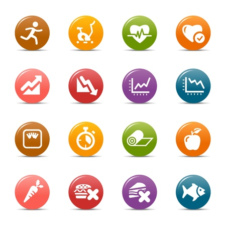 Colored Dots - Health and Fitness iconsのイラスト素材