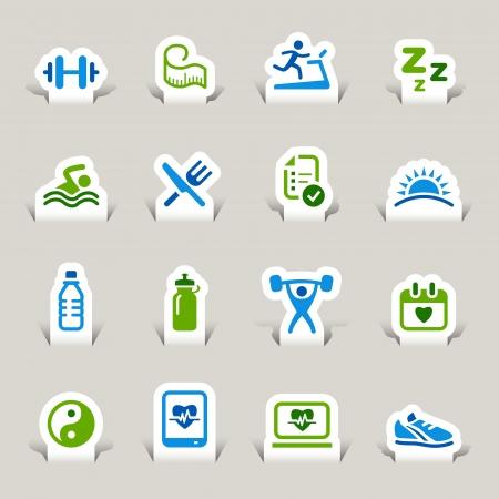 Ilustración de Paper Cut - Health and Fitness icons - Imagen libre de derechos