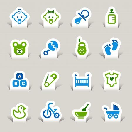 Photo pour Paper Cut - Baby icons - image libre de droit