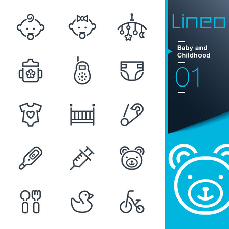 Photo pour Lineo - Baby and Childhood outline icons - image libre de droit