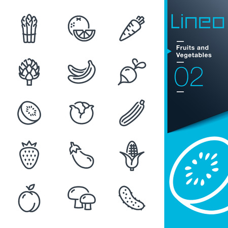 Lineo - Fruits and Vegetables outline iconsのイラスト素材