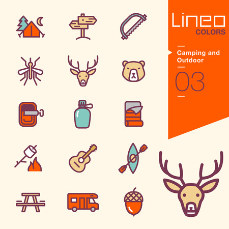 Illustration pour Lineo Colors - Camping and Outdoor icons - image libre de droit