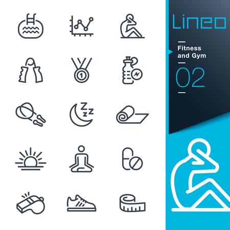 Illustration pour Lineo - Fitness and Gym line icons - image libre de droit