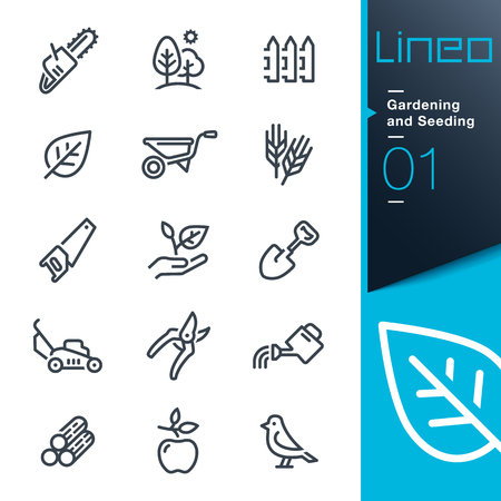 Illustration pour Lineo - Gardening and Seeding line icons - image libre de droit