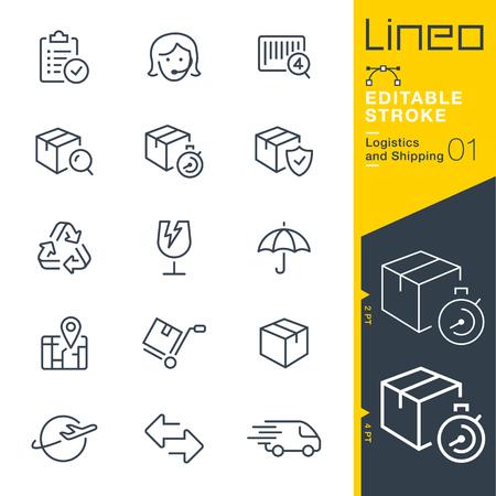 Ilustración de Line Editable Stroke - Logistics and shipping line icon - Imagen libre de derechos