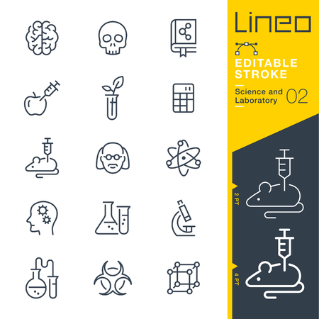 Illustration pour Lineo Editable Stroke - Science and Laboratory icons Vector Icons - Adjust stroke weight - Change to any color - image libre de droit