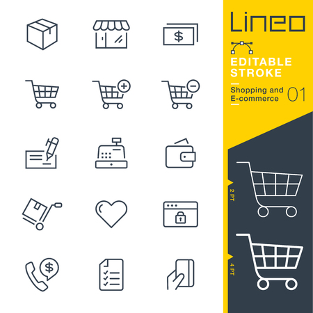 Illustration pour Lineo editable stroke - shopping and e-commerce line icon vector icons - adjust stroke weight - change to any color - image libre de droit