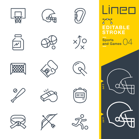 Illustration pour Lineo Editable Stroke - Sports and Games line icons Vector Icons - Adjust stroke weight - Change to any color - image libre de droit