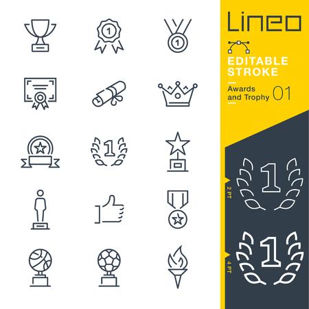 Ilustración de Lineo editable stroke. Icon set. - Imagen libre de derechos